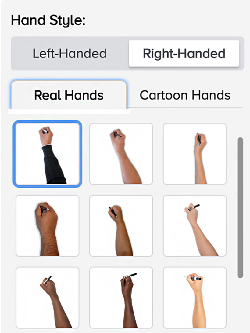 Doodly hand style feature options
