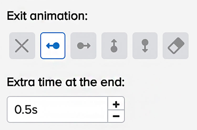 doodly scene exit animation feature options