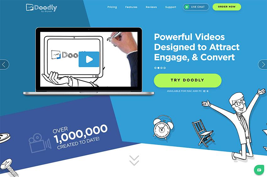 Doodly website homepage example.