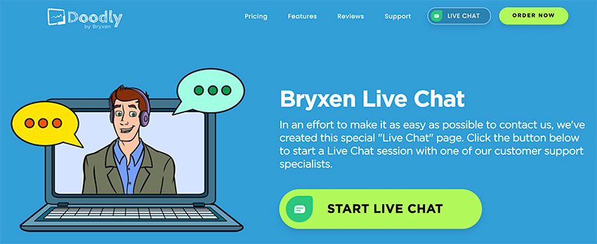 Doodly Bryxen Live Chat page.