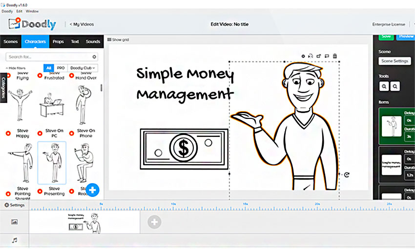 Doodly whiteboard video dashboard
